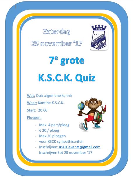 De grote KSCK-Quiz komt eraan: schrijf je snel in!