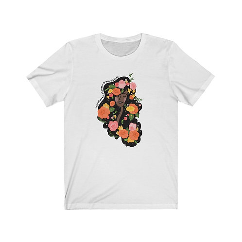 Happiness Blooms From Within Tee, Black Hair