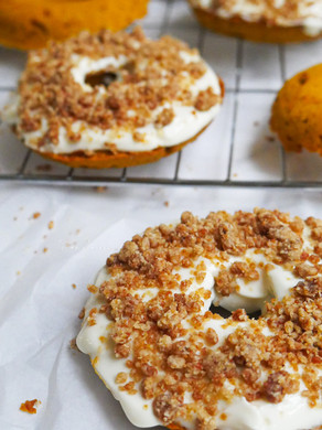 Baked Pumpkin Doughnuts with Maple Cream Cheese & Chai Streusel (Gluten-Free, Vegan*)