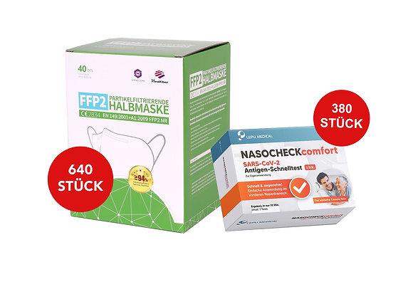 Das Unternehmer Bundle: 640 FFP2 Masken + 380 Antigen-Schnelltest