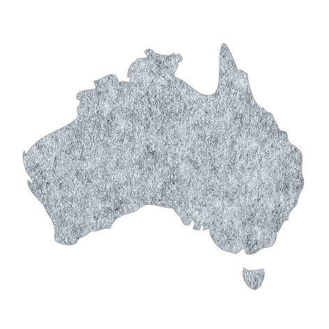 Australia Map pin board  - 'grey fuzz'