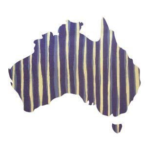 Australia Map pin board  - 'blue poles'