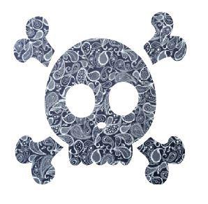 Skull & Crossbones pin board - 'paisley'