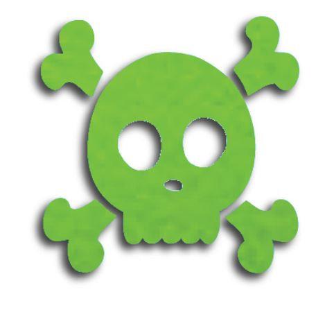 Skull & Crossbones pin board - 'lime'