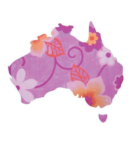 Australia Map pin board  - 'wild flowers'