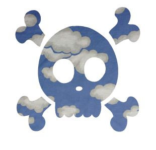 Skull & Crossbones pin board - 'blue yonder'