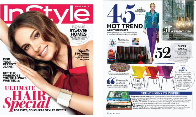 In Style magazine Published interior design article