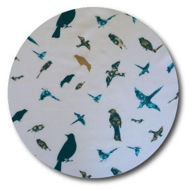 Circle pin board 'teal birds'