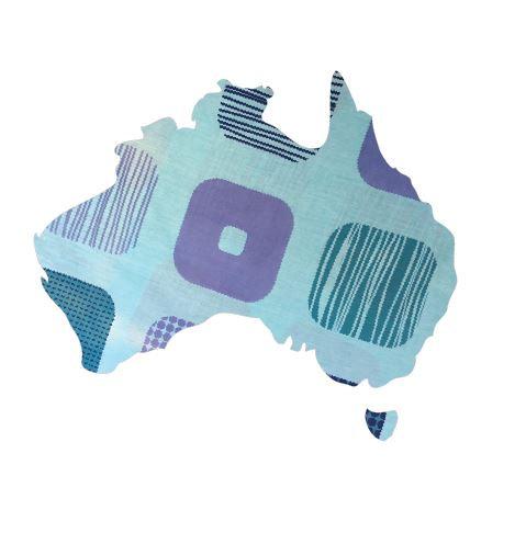 Australia Map pin board  - 'squares'