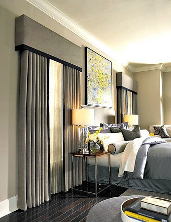 Beautiful window coverings in master bedroom - interior design