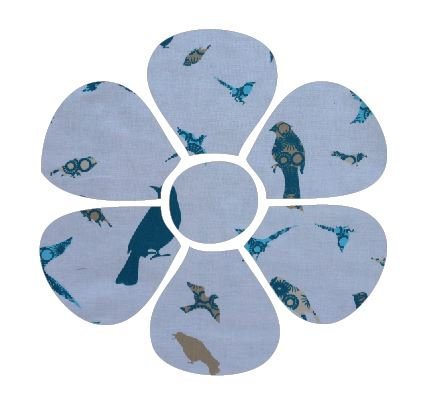 Flower pin board - 'teal birds'
