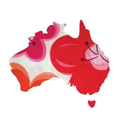 Australia Map pin board  - 'pop flower'