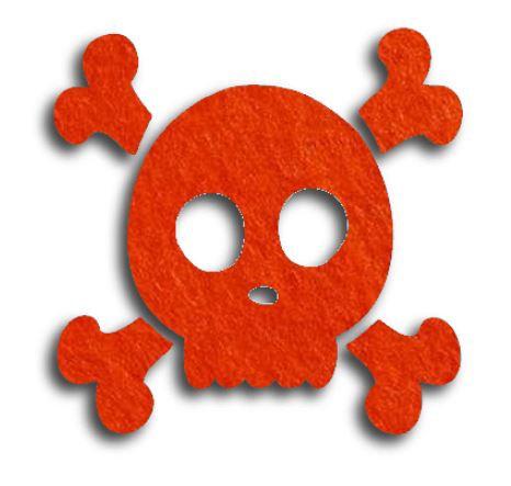 Skull & Crossbones pin board - 'tangerine'