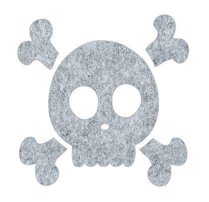 Skull and Crossbones pin board - 'grey fuzz'