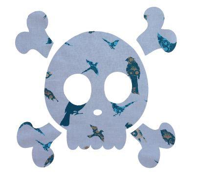Skull & Crossbones pin board - 'teal birds'