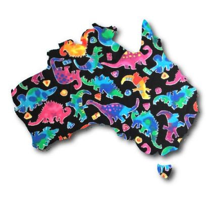 Australia Map pin board  - 'disco dino'