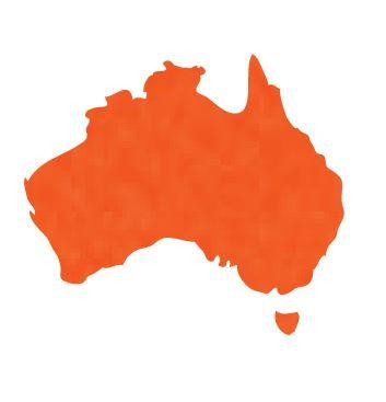 Australia Map pin board  - 'tangerine'