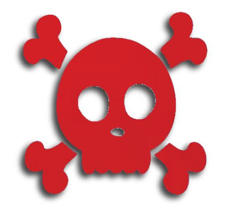 Skull & Crossbones pin board - 'red'
