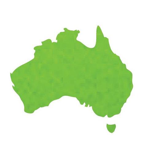 Australia Map pin board  - 'lime'