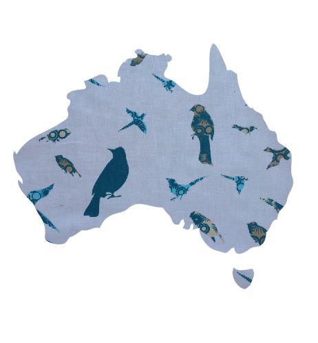 Australia Map pin board  - 'teal birds'