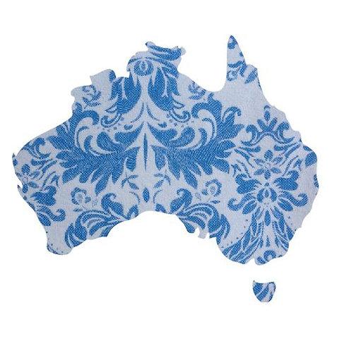 Australia Map pin board  - 'china blue'