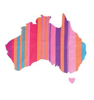 Australia Map pin board  - 'candy cane'