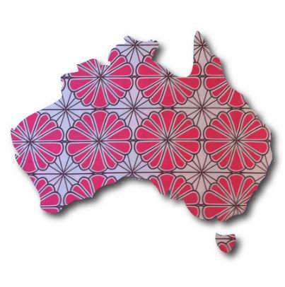 Australia Map pin board  - 'pink daisy'