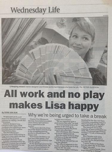 Interiro Design newspaper article Port Macquarie
