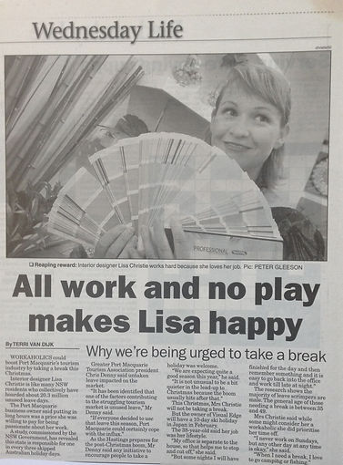 Interiro Design newspaper article Port Macquarie