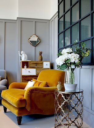 Lovely yellow arm chair - interior design