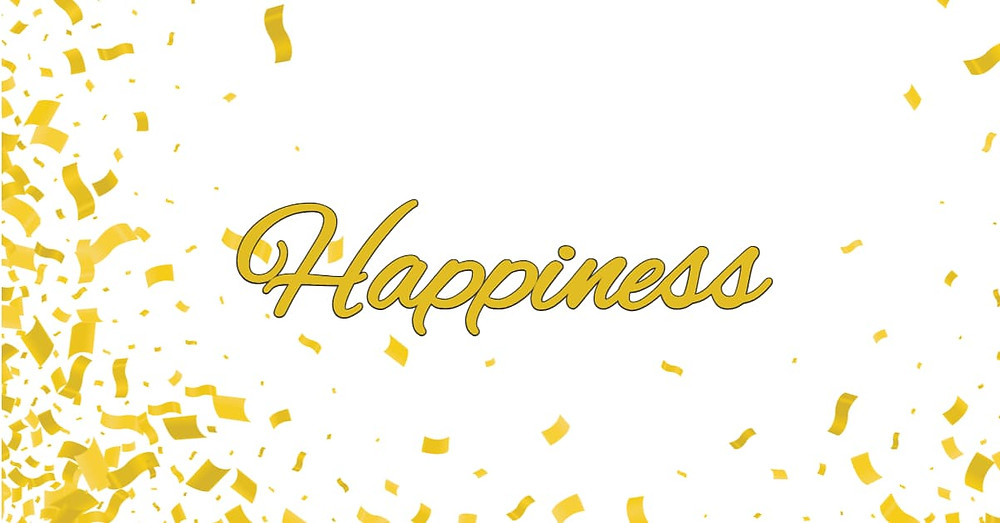 The word Happiness with golden confetti surrounding it.