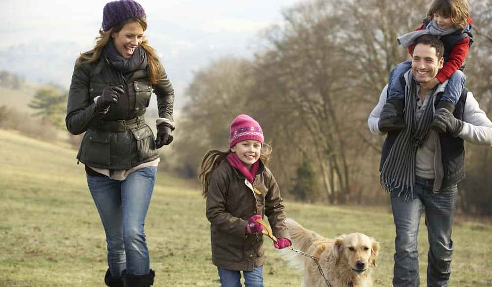 A happy family walking the dog in the countryside