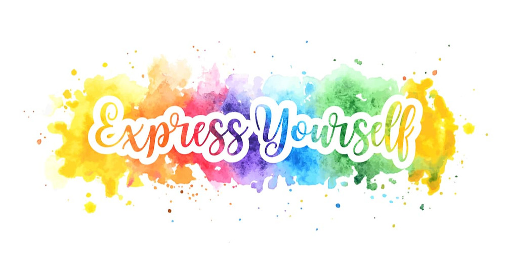 Express yourself concept, motivation poster