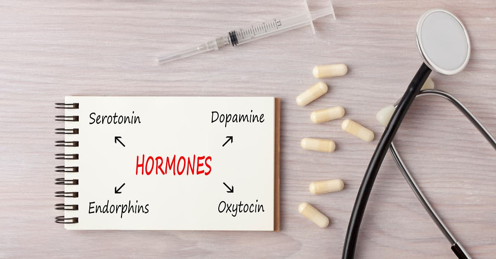 """Notebook with """"HORMONES"""" beside syringe, pills and stethoscope."""