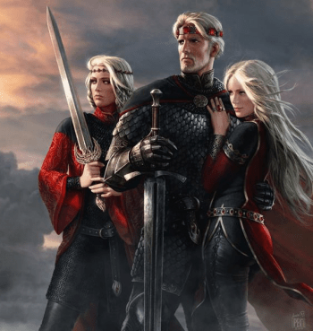 Aegon, Visenya and Rhaenys. It is because of Rhaenys' death that Aegon is now facing a threat more terrifying than dragons from Dorne.