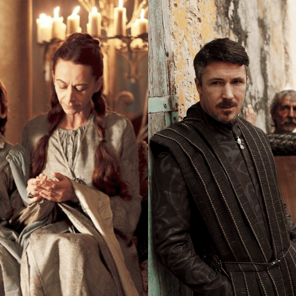 the best way to introduce a secondary character - you would never suspect Lord Petyr Baelish and Lady Lysa Arryn of being traitors when you meet them