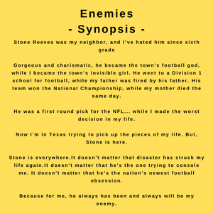 interview with the nyt bestselling author tijan and the synopsis for her book, Enemies