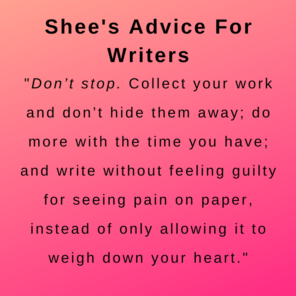 interview with the poet author shee - her advice for writers
