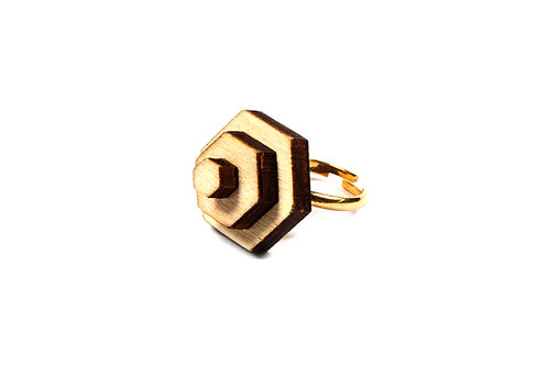 wooden  HEXAGON  ring