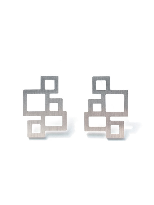 Rectangle Silver Earrings