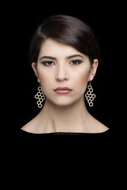 hexagon . earrings