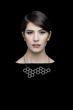 hexagon . necklace