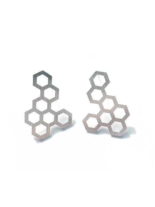 Hexagon Silver Earrings