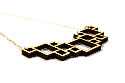 WOODEN  RECTANGLE  necklace
