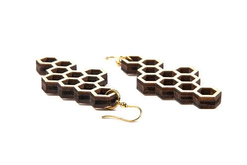 WOODEN HEXAGON earrings