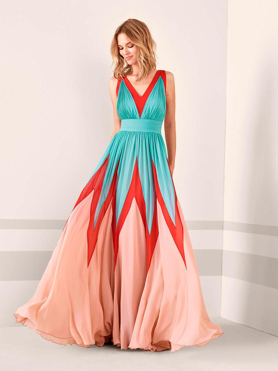 vestido fiesta boda rojo azul