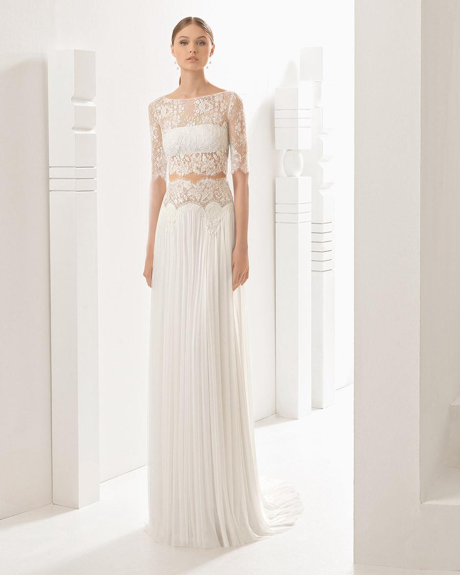 vestido novia dos piezas top encaje