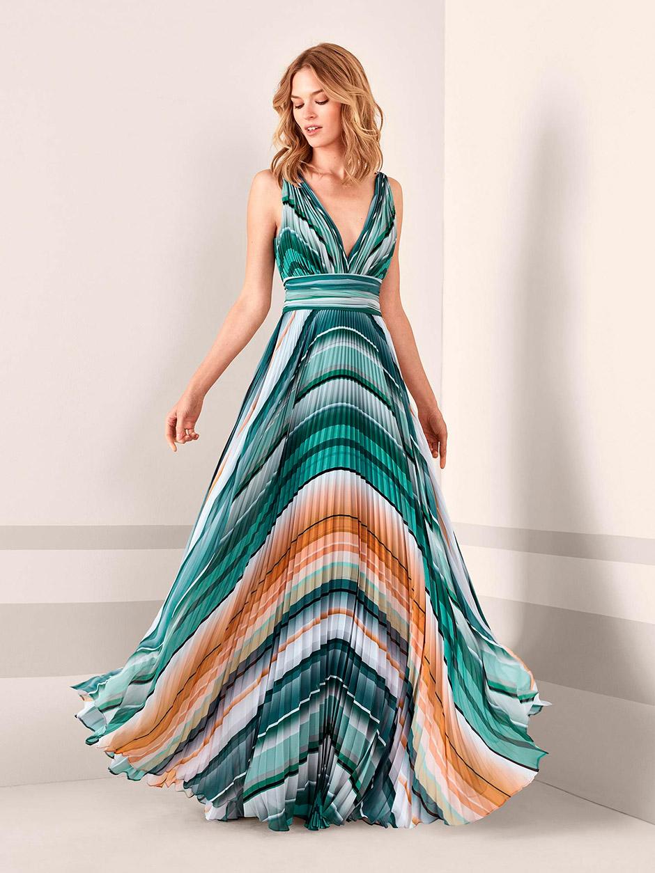 vestido fiesta boda tonos marinos tierra
