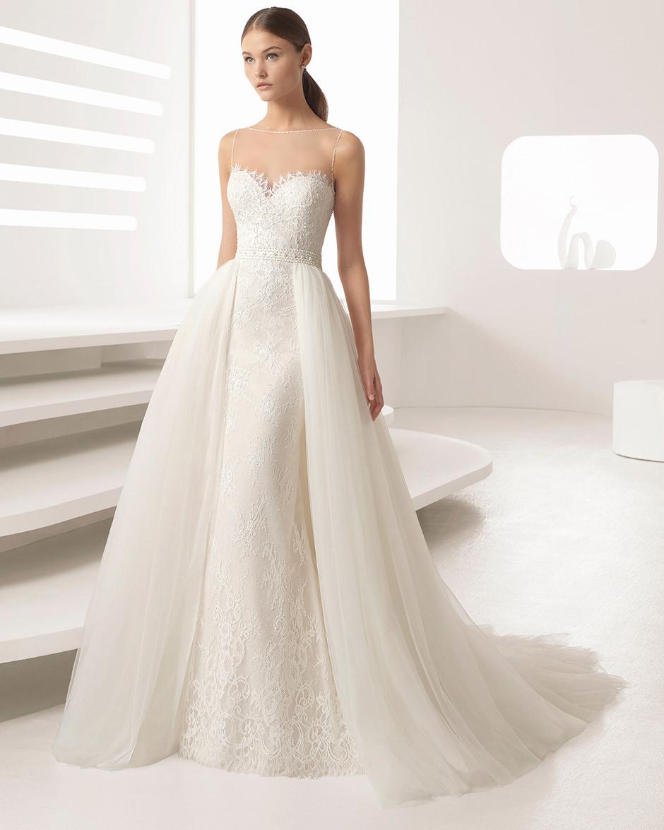 vestido novia sobrefalda escote corazon