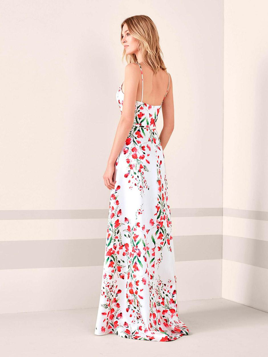 vestido fiesta boda estampado floral rojo